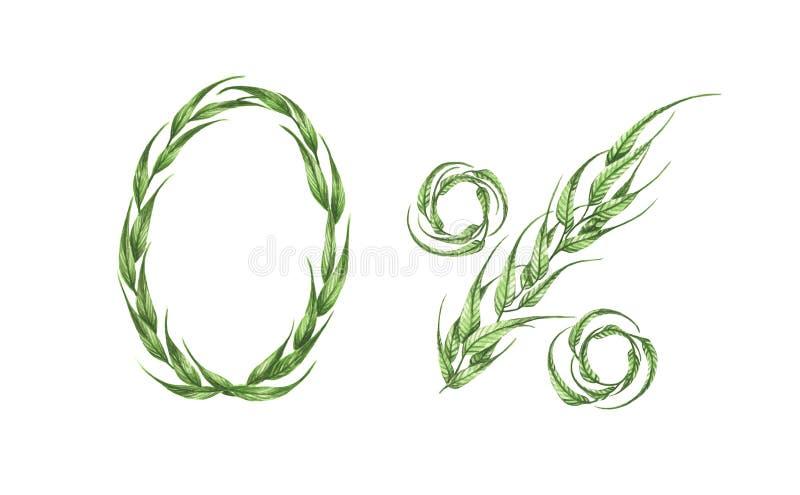 0%文本,从绿色叶子的百分之零 额嘴装饰飞行例证图象其纸部分燕子水彩 向量例证