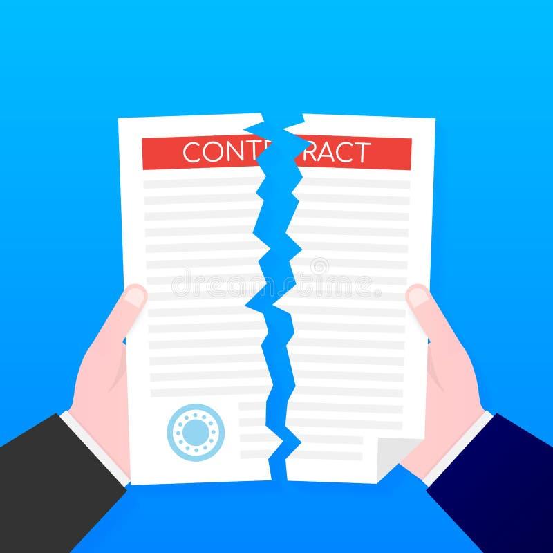 撕开合同文件的商人手 也corel凹道例证向量 向量例证