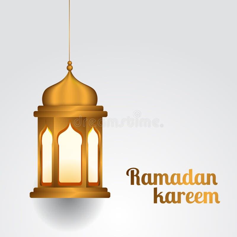 斋月kareem和穆巴拉克的垂悬的现实金黄灯笼伊斯兰教的事件 库存例证