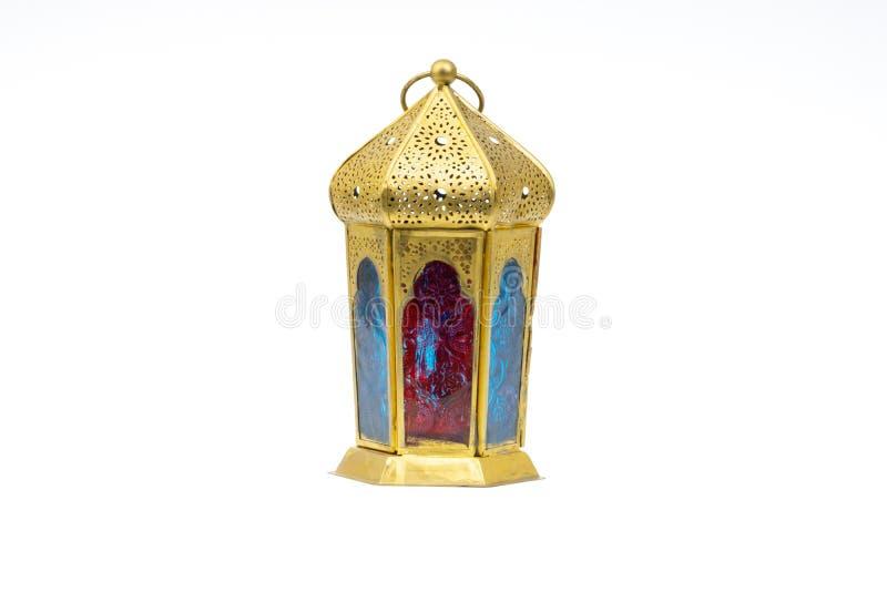 斋月LED灯笼或阿拉伯装饰灯在白色背景 库存照片