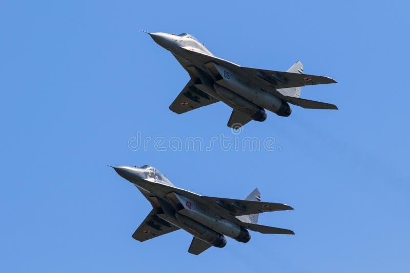Æreo a reazione di aereo da caccia del fulcro MiG-29 fotografia stock libera da diritti