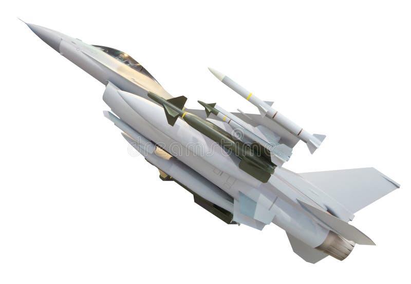 Æreo a reazione militare con il missile pieno dell'arma isolato su bianco immagine stock