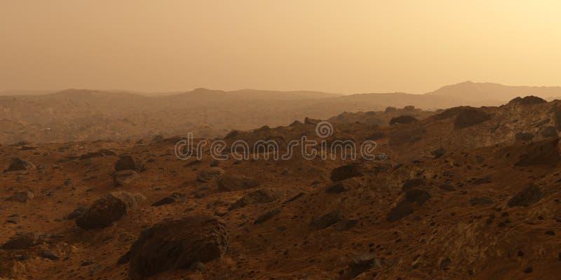 火星红色行星表面,与岩石的小山 免版税库存图片
