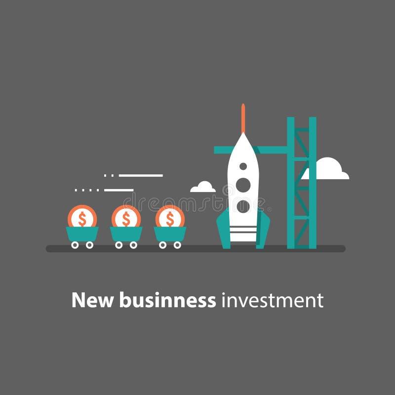 火箭队发射,新的事务,开始概念,吸引金钱,筹款,风险投资,未来投资 皇族释放例证