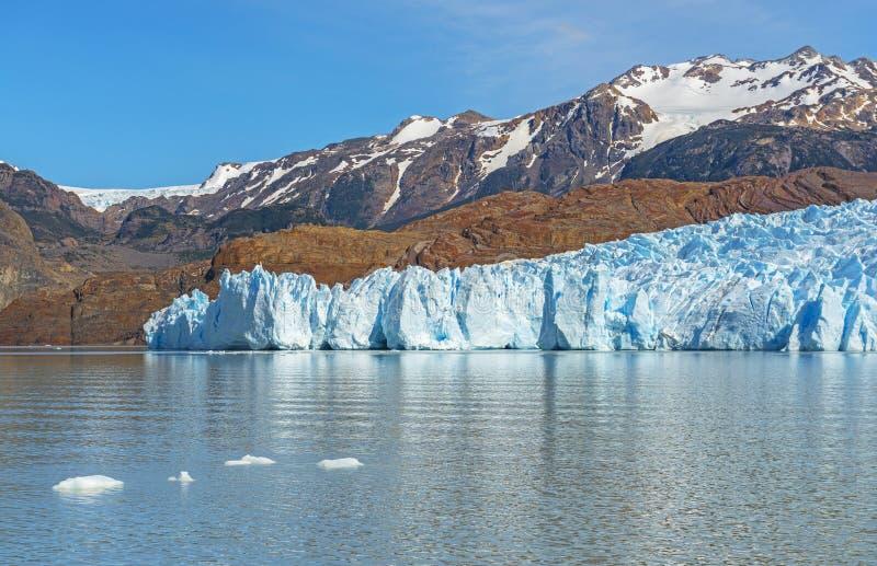 灰色冰川在夏天,巴塔哥尼亚,智利 免版税库存图片