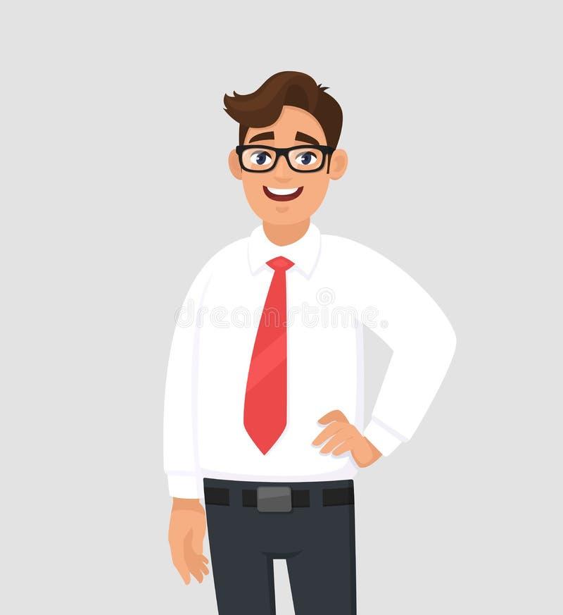 确信的英俊的年轻商人画象在白色衬衫和红色领带的,站立反对灰色/灰色背景 库存例证