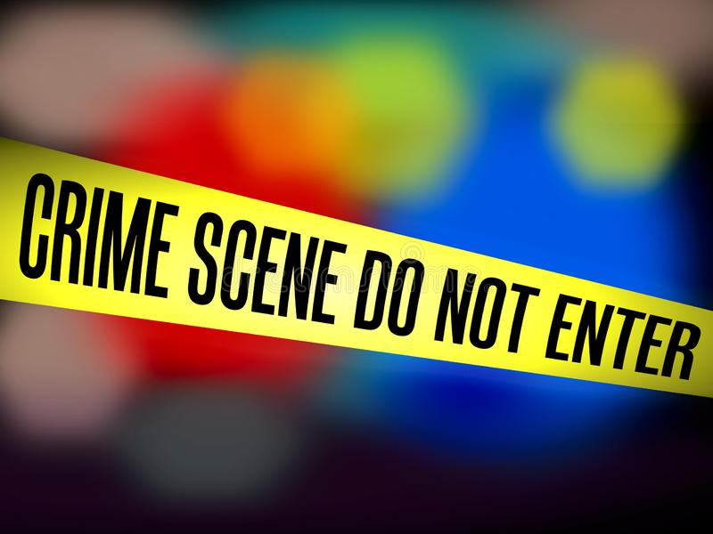 磁带黄色障碍犯罪现场不输入反对模糊的警察背景 向量例证