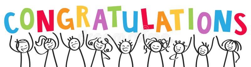 祝贺,棍子形象欢呼与五颜六色的信件的微笑的小组 库存例证