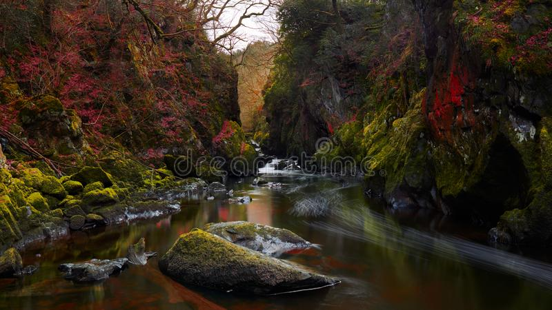 神仙的幽谷在北部威尔士,英国 库存图片