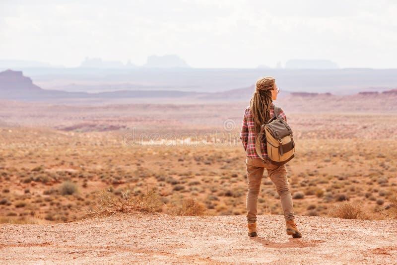神,美国谷的徒步旅行者  库存图片