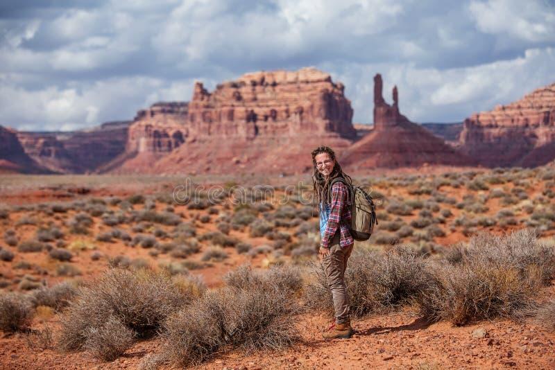 神,美国谷的徒步旅行者  免版税库存图片