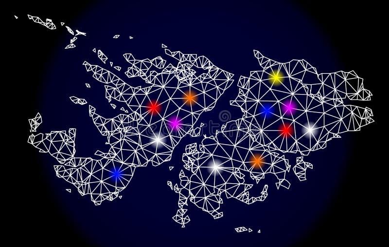 福克兰群岛的多角形尸体滤网地图有五颜六色的亮点的 库存例证