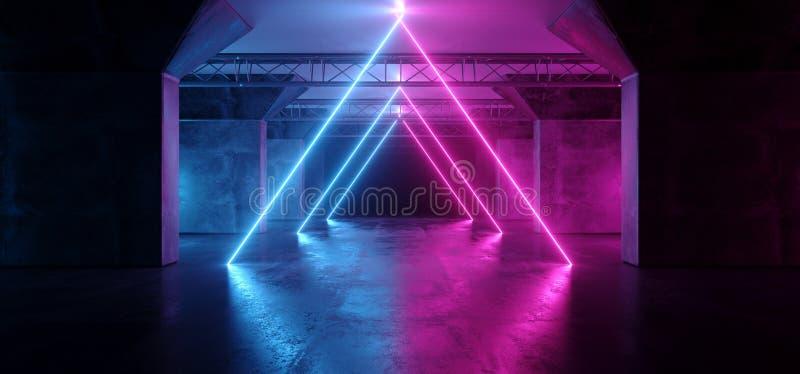 科学幻想小说三角霓虹发光的萤光激光Alienship阶段舞蹈点燃在黑暗的空的难看的东西的紫外紫色蓝色桃红色 库存例证