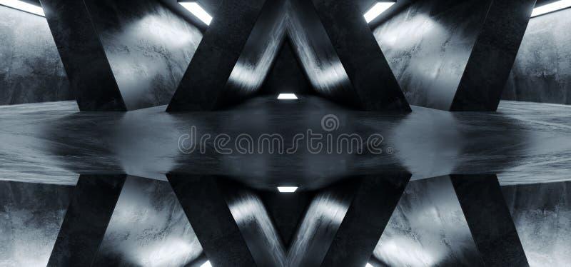 科学幻想小说未来派Alienship黑暗的空的难看的东西具体反射性抽象走廊室霍尔白炽太空飞船背景3D 库存例证