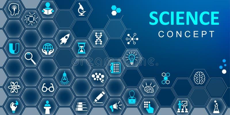 科学概念背景 设置教育、学校和知识平的象 汇集科学标志象–传染媒介 向量例证