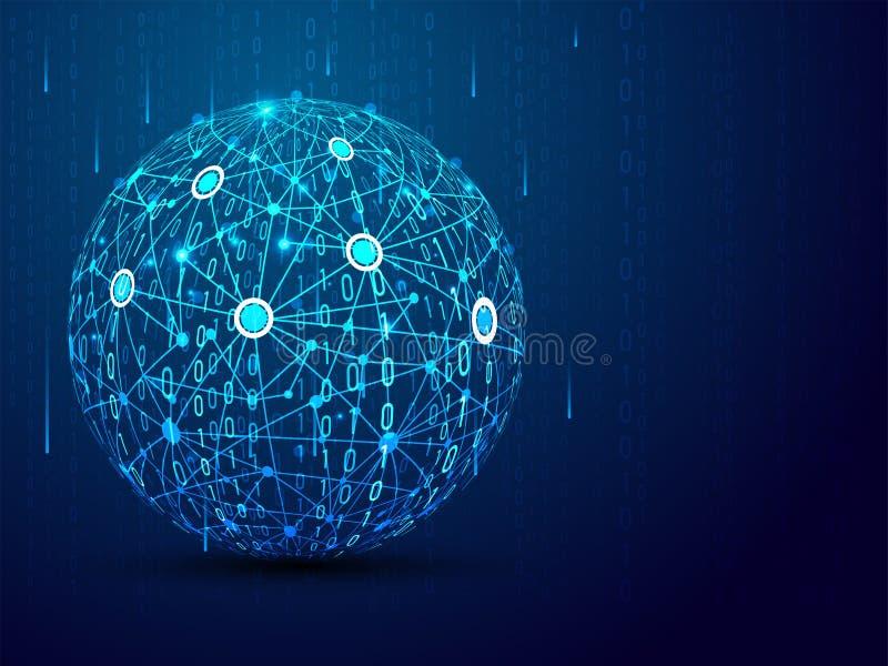 科学技术概念,未来派网际空间网络,3D在蓝色背景的全球性网络球形 向量例证