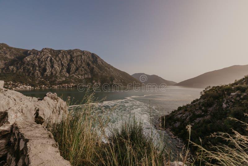 科托尔海湾海景,黑山-图象 库存图片