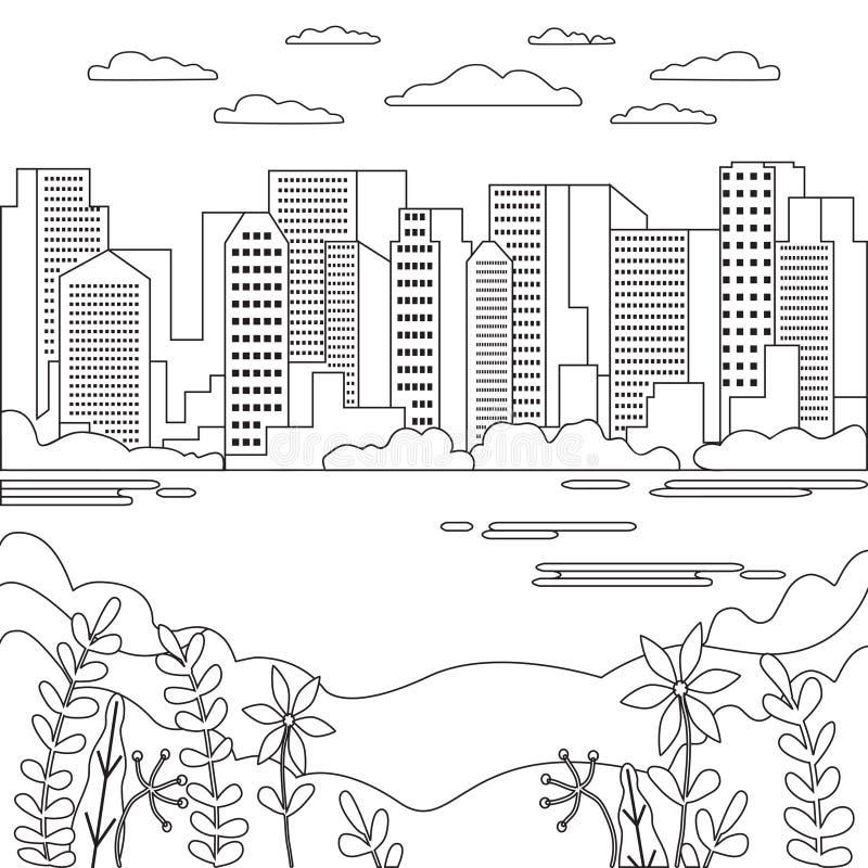 稀薄的线城市风景象 有高摩天大楼的,大厦,天空,云彩线艺术窗框全景设计都市现代城市 皇族释放例证