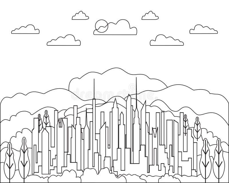 稀薄的线城市风景象 有高摩天大楼的,大厦,天空,云彩线艺术窗框全景设计都市现代城市 向量例证
