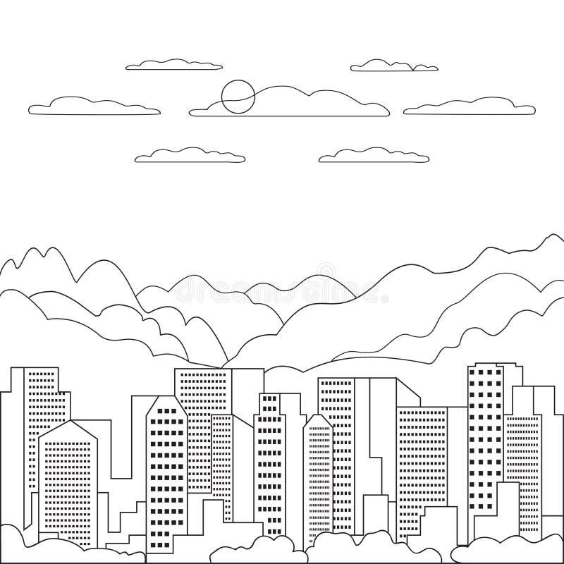 稀薄的线城市风景象 有高摩天大楼的,大厦,天空,云彩线艺术窗框全景设计都市现代城市 库存例证