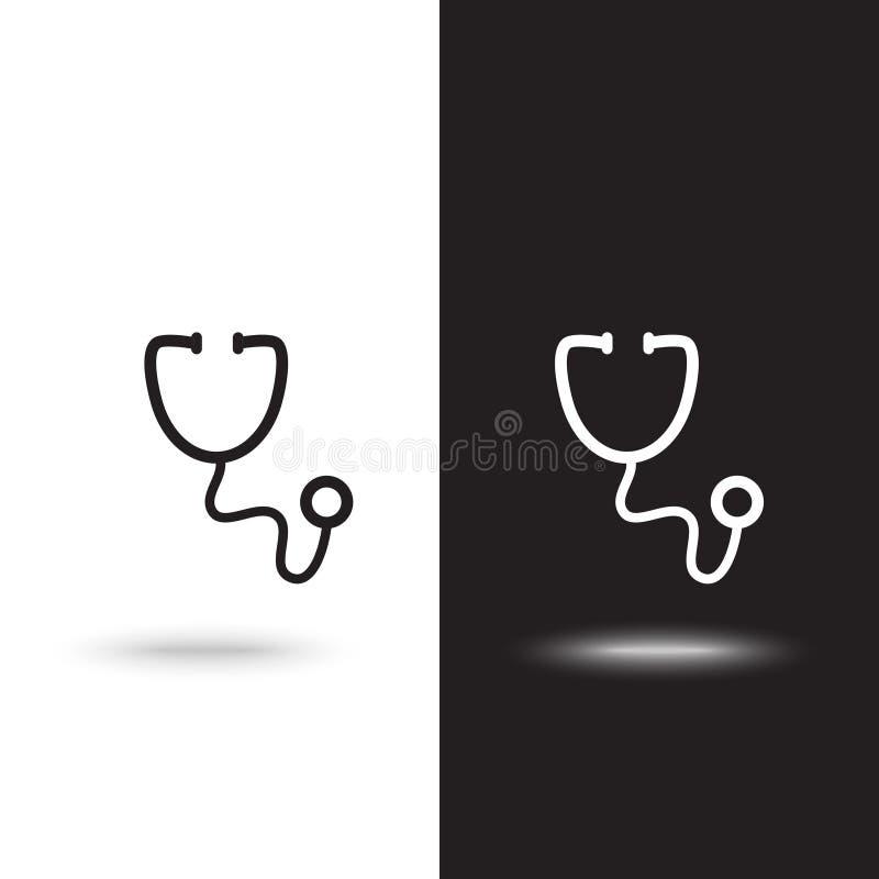 稀薄的线在白色背景的听诊器象在黑白背景 库存例证