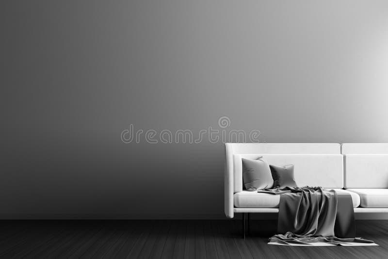 空的墙壁嘲笑在斯堪的纳维亚样式行家内部 最低纲领派现代室内设计 3d例证 免版税库存图片