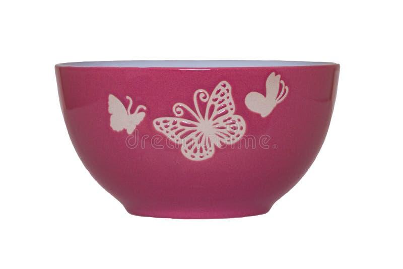 空的碗背景 有在白色背景隔绝的蝴蝶图案的特写镜头紫色空的碗 宏指令 厨房商品 免版税图库摄影