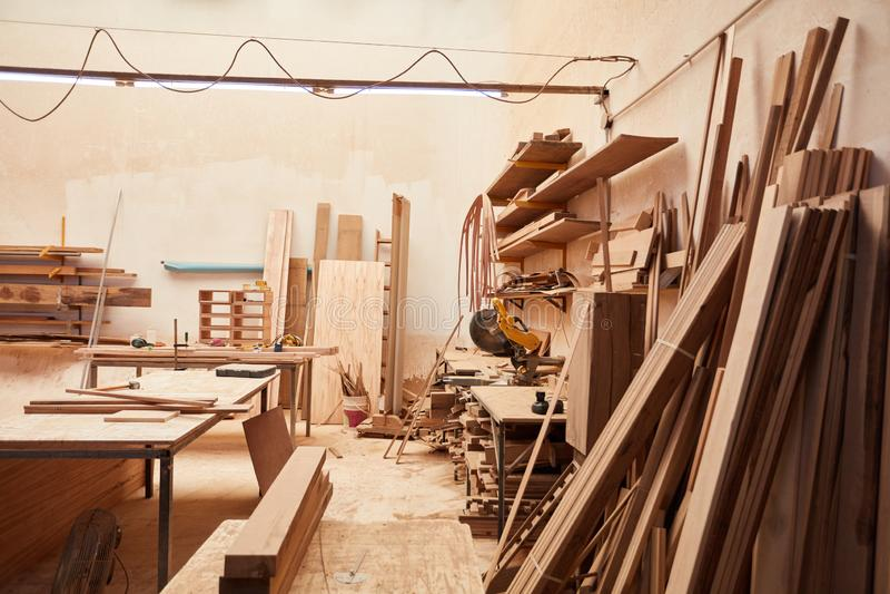 空的车间在细木工技术里 库存照片