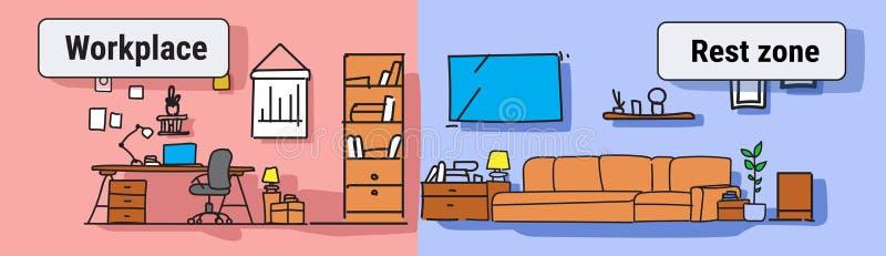 空现代工作场所内阁的家具五颜六色没有人房子客厅内部休息区域和工作场所的概念 库存例证
