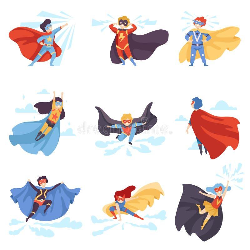 穿超级英雄服装的逗人喜爱的孩子设置,在面具的超级儿童字符,并且海角导航例证 皇族释放例证