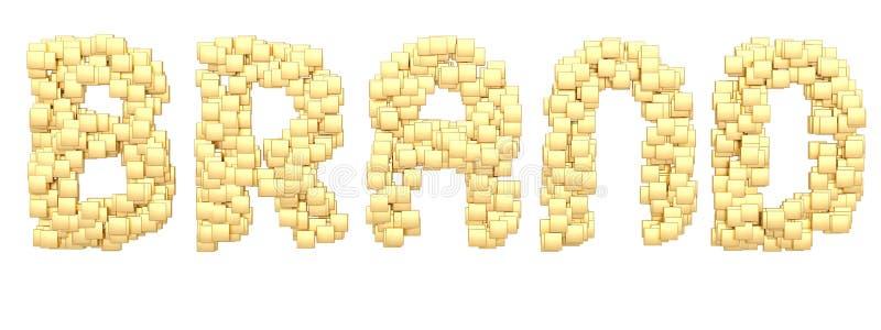 立方体构成在白色背景3D例证隔绝的词品牌 向量例证