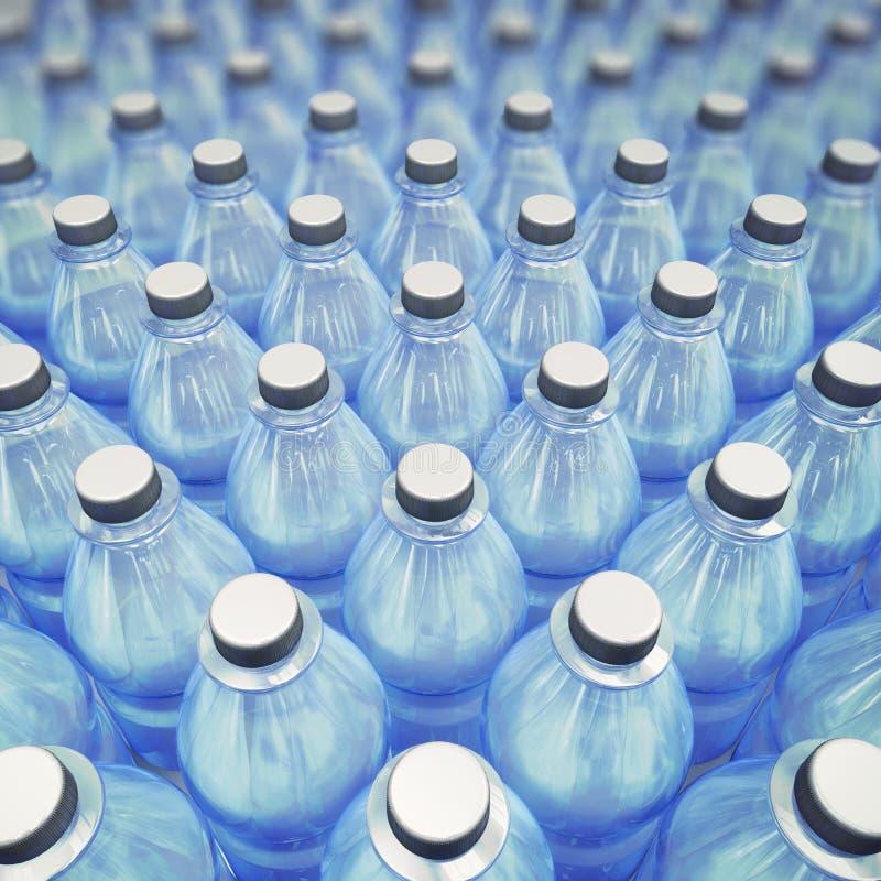 站在队中许多蓝色塑料饮用的瓶 图库摄影