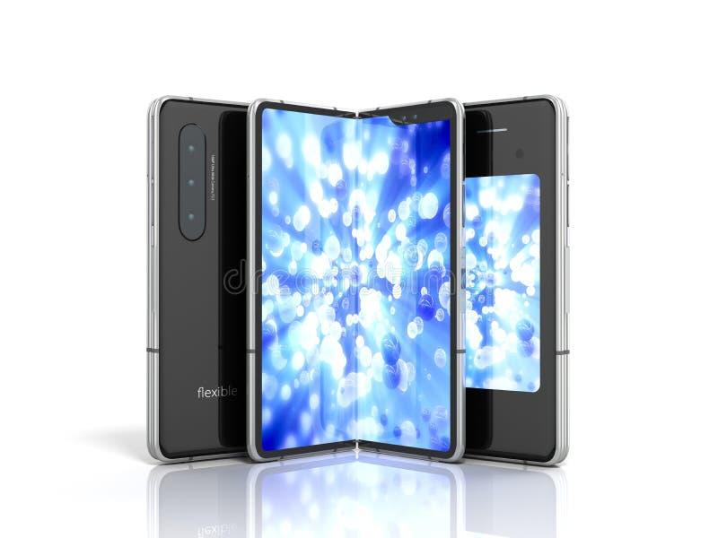 第一个连续灵活的电话3d回报在白色背景 皇族释放例证