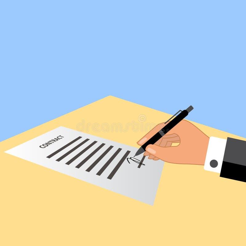 签合同的人手 皇族释放例证