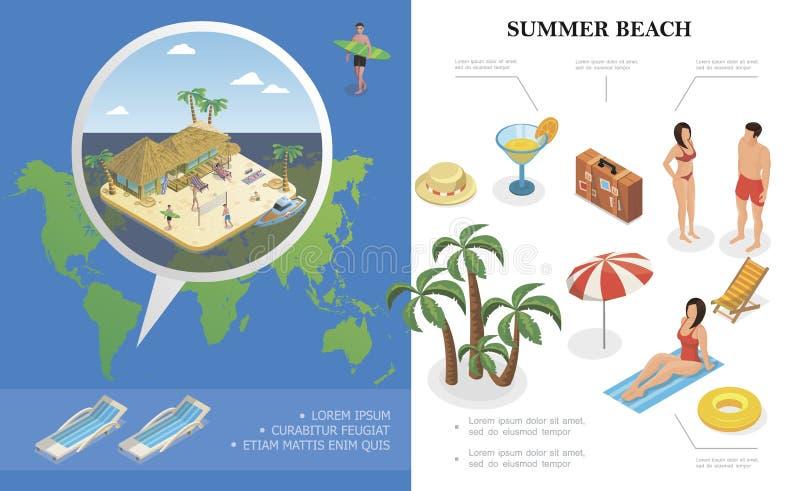 等量夏天休假概念 向量例证