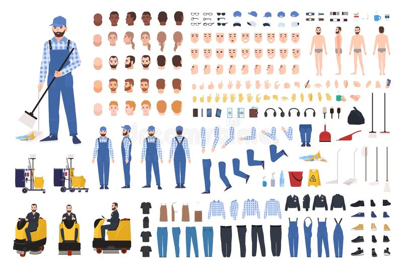 管理员创作集合或建设者成套工具 捆绑擦净剂的身体局部,姿态,制服,设备,地板磨光机 皇族释放例证