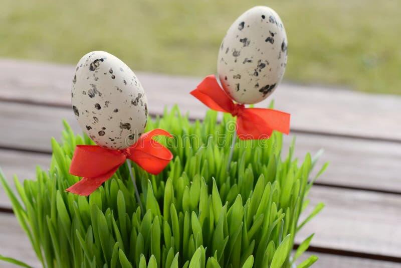 简单的复活节装饰用呈杂色的鸡蛋和麦子草 库存图片