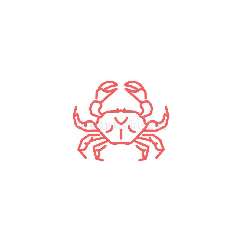 简单的平的红色螃蟹象 线性slyle 向量例证