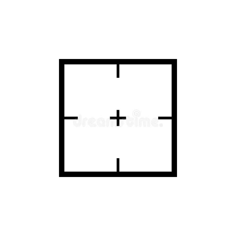 简单的狙击步枪长方形十字准线黑象 库存例证