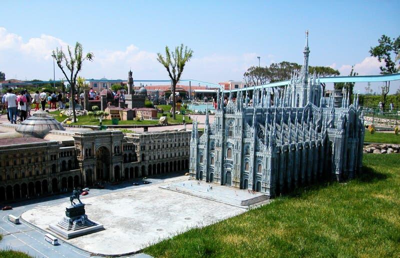 米兰中央寺院在主题乐园'缩样的'miniatura的Viserba,里米尼,意大利意大利意大利 免版税库存图片