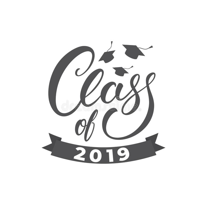 类2019年 在与毕业盖帽的毕业概念例证上写字 库存例证