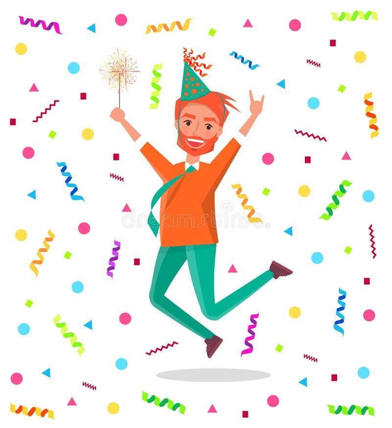 红头发人有胡子的人快活在生日宴会跳 库存例证