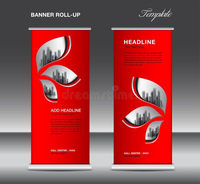 红色卷起横幅模板传染媒介,广告,x横幅,海报,拔设计,显示,布局,企业飞行物,网横幅 库存例证