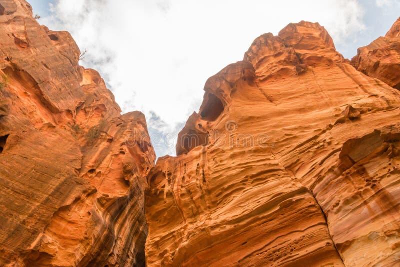 红色岩石的上面的看法在Siq段落的在Petra,约旦 免版税库存照片