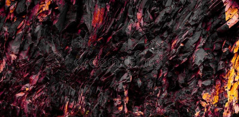 红色和黑岩石纹理-抽象石背景 库存图片