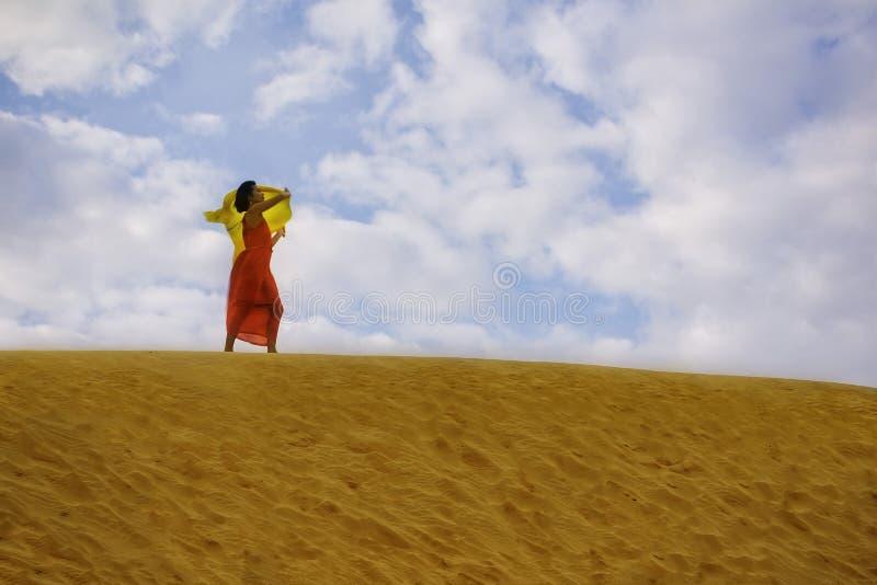 红色礼服的一名妇女 免版税库存照片