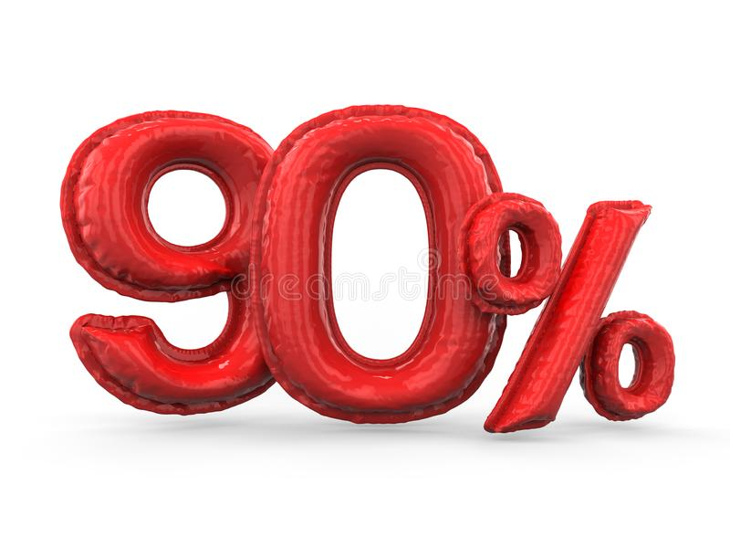 红色百分之九十做了可膨胀的气球 百分之集合 3d 库存例证