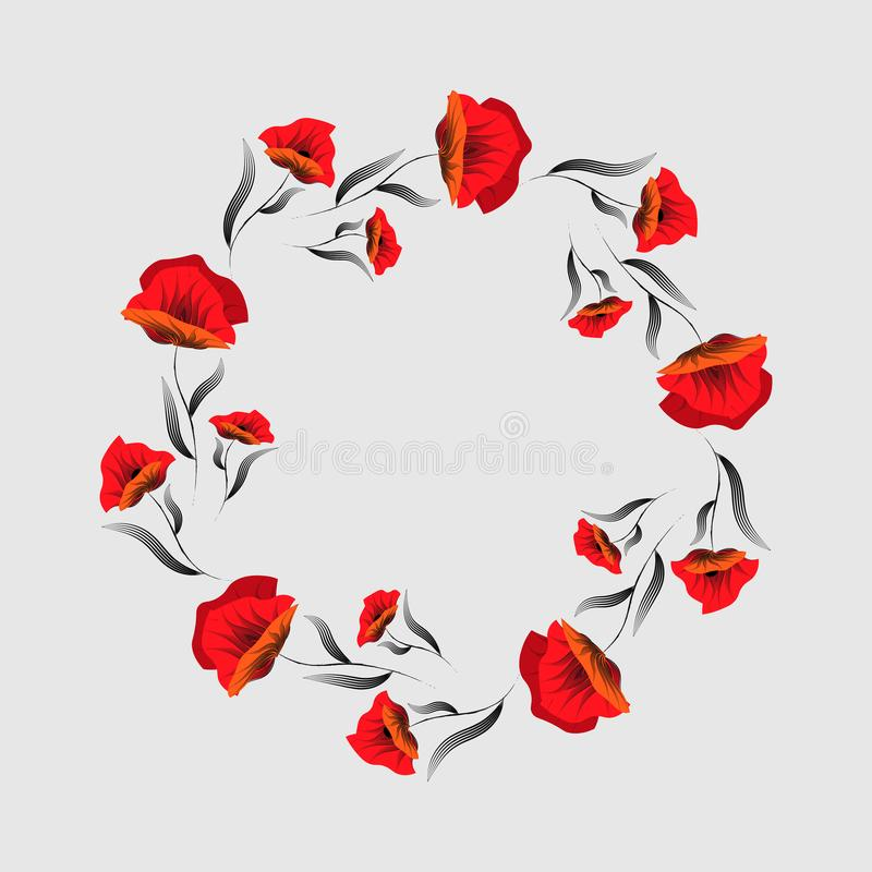 红色鸦片花 花卉框架构成系列 鸦片花圈 日记忆 退伍军人 向量例证