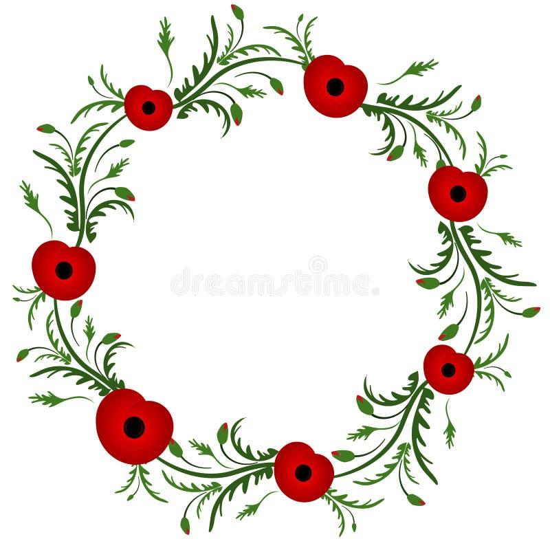 红色鸦片花 花卉框架构成系列 鸦片花圈 第二次世界大战,第一次世界大战 日记忆 退伍军人 库存例证