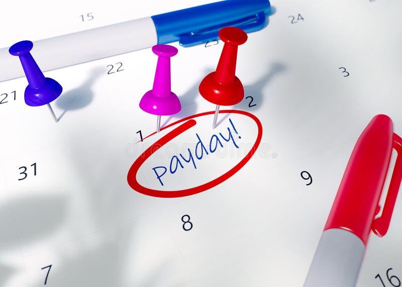 红色,桃红色和蓝色别针在日历与词提醒的发薪日为重要任命 库存例证